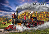 Interlitho-Marcello, LANDSCAPES, LANDSCHAFTEN, PAISAJES, paintings+++++,steam train,horses,autumn,fall,KL4518,#a#,EVERYDAY ,puzzles