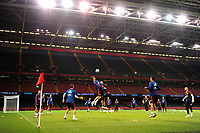 Spain's Álvaro Morata (C) during the pre-International Friendly training session of the Spain squad at the Principality Stadium, Cardiff, UK. Wednesday 10 October 2018
