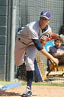 Wilmington Blue Rocks pitcher Jake Odorizzi #23 warming up in the bullpen before pitching against the Myrtle Beach Pelicans at BB&T Coastal Field in Myrtle Beach, South Carolina on April 10, 2011.   Photo By Robert Gurganus/Four Seam Images