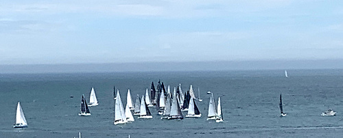 The 38-boat D2D fleet prepare for the 2021 start at dun Laoghaire Photo: Barry O'Neill