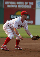 July 2, 2003:  third baseman Zach Norman of the Batavia Muckdogs during a game at Dwyer Stadium in Batavia, New York.  Photo by:  Mike Janes/Four Seam Images