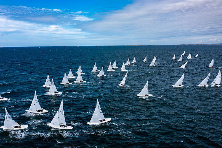 An aerial view of The Dragon Gold Cup 2021 in Marstrand