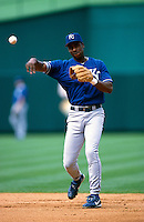 Jose Offerman of the Kansas City Royals plays in a baseball game at Edison International Field during the 1998 season in Anaheim, California. (Larry Goren/Four Seam Images)