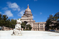 A winter snowman stands on the grounds of the Texas State Capitol during a freak January snowstorm in Austin, Texas.