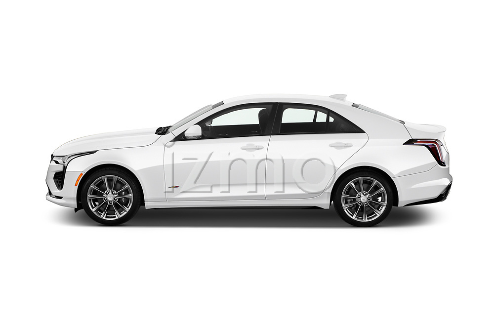 Car Driver side profile view of a 2020 Cadillac CT4-V V-Series 4 Door Sedan Side View