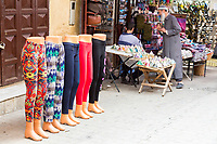 Fes, Morocco. Mannequins Displaying Women's Slacks in the Medina.