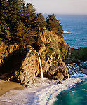 McWay Falls drops to the ocean, Scenic Highway 1, Central Coast, California.A National Scenic Byway