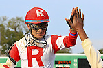 January 16, 2016: Miguel Mena celebrates after winning the Louisiana Stakes race with International Star at the Fairgrounds race course the Louisiana Stakes race in New Orleans Louisiana. Steve Dalmado/ESW/CSM