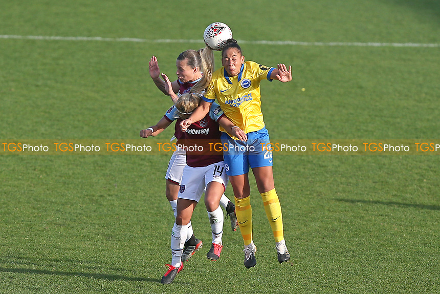 Rianna Jarrett of Brighton and Gilly Flaherty of West Ham during West Ham United Women vs Brighton & Hove Albion Women, Barclays FA Women's Super League Football at the Chigwell Construction Stadium on 15th November 2020