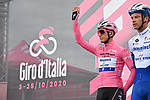 Race leader Maglia Rosa Joao Almeida (POR) Deceuninck-Quick Step at sign on before the start of Stage 12 of the 103rd edition of the Giro d'Italia 2020 running 204km from Cesenatico to Cesenatico, Italy. 15th October 2020.  <br /> Picture: LaPresse/Gian Mattia D'Alberto | Cyclefile<br /> <br /> All photos usage must carry mandatory copyright credit (© Cyclefile | LaPresse/Gian Mattia D'Alberto)