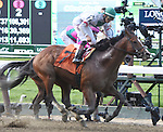 Palace (no. 7), ridden by Jose Ortiz and trained by Linda Rice, wins the 36th running of the grade 2 True North Stakes for four year olds and upward on June 6, 2014 at Belmont Park in Elmont New York. (Bob Mayberger/Eclipse Sportswire)