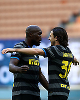 Calcio, Serie A: Inter Milano - Genoa , Giuseppe Meazza (San Siro) stadium, in Milan, February 28, 2021.  <br /> Inter's Matteo Darmian (r) celebrates after scoring with his teammate Romelu Lukaku (l) during the Italian Serie A football match between Inter and Genoa at Giuseppe Meazza (San Siro) stadium, on February 28, 2021.  <br /> UPDATE IMAGES PRESS/Isabella Bonotto