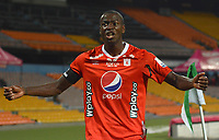 MEDELLIN- COLOMBIA, 28-11-2020:Adrián Ramos del  América de Cali celebra después de anotar el primer gol de su equipo durante partido por los cuartos de final vuelta como parte de la Liga BetPlay DIMAYOR 2020 entre  Atlético Nacional y América de Cali jugado en el estadio Atanasio Girardot de la ciudad de Medellín./ Adrian Ramos of America de Cali celebrates after scoring the firts goal of his team during match for the quarterfinal second  leg as part of BetPlay DIMAYOR League 2020 between  Atletico Nacional and America de Cali played at Atanasio Girardot stadium in Medellin . Photo:VizzorImage / Luis Benavides / Contribuidor