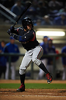 Lake Elsinore Storm catcher Luis Torrens (12) at bat during a California League game against the Rancho Cucamonga Quakes at LoanMart Field on May 19, 2018 in Rancho Cucamonga, California. Lake Elsinore defeated Rancho Cucamonga 10-7. (Zachary Lucy/Four Seam Images)