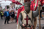 St Georges Day 23rd April 2019, Dartford Kent, parade the town centre high street, Councillor David Mote and Lady Mayoress Ellen Mote <br />  with town hall dignitaries. 2010s