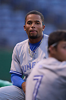 Dunedin Blue Jays Steward Berroa (1) during a game against the Clearwater Threshers on May 18, 2021 at BayCare Ballpark in Clearwater, Florida.  (Mike Janes/Four Seam Images)
