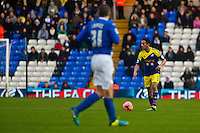 Saturday 25 January 2014<br /> Pictured: Neil Taylor looks to cross the ball for the swans<br /> Re: Birmingham City v Swansea City FA Cup fourth round match at St. Andrew's Birimingham