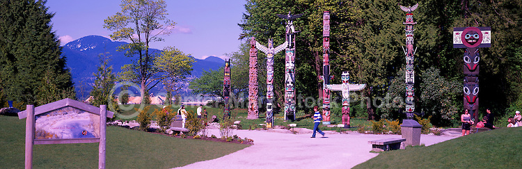Totem Poles at Brockton Point, Stanley Park, Vancouver, BC, British Columbia, Canada, Summer