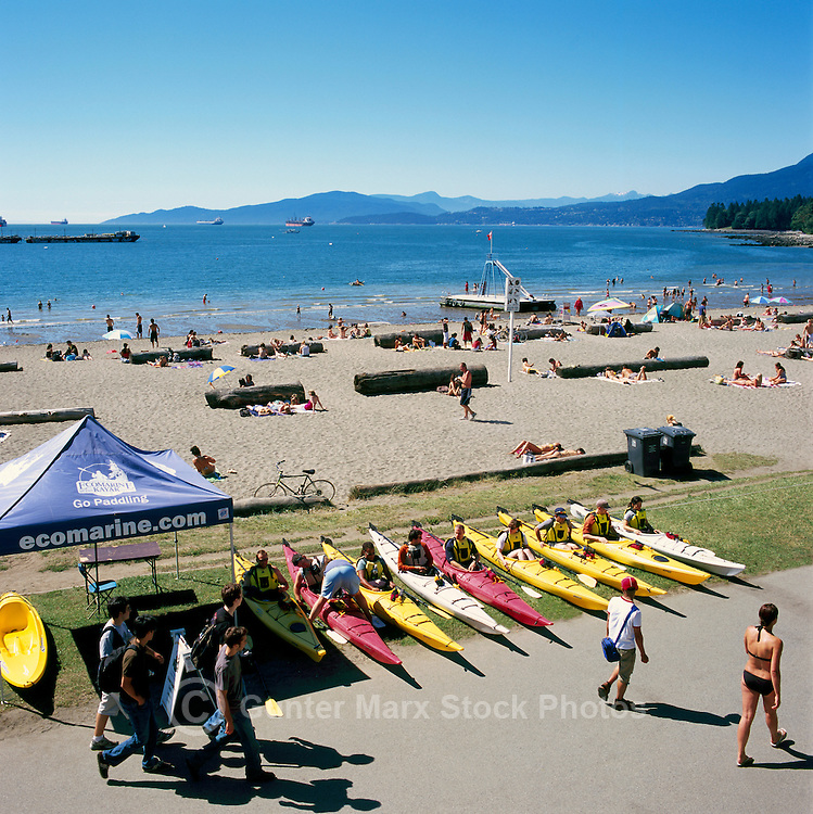 """Vancouver, British Columbia, Canada - Summer Beach Activities and Kayak Rentals at English Bay (First Beach) in the """"West End"""""""