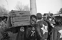 Storico Carnevale di Ivrea, Battaglia delle Arance. Un ragazzo ferito trasporta una cassetta di arance --- Historic Carnival of Ivrea, Battle of the Oranges. An injured boy carrying a box of oranges