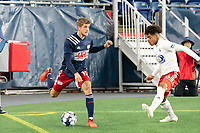 FOXBOROUGH, MA - OCTOBER 16: Justin Rennicks #12 of New England Revolution II passes from the North Texas during a game between North Texas SC and New England Revolution II at Gillette Stadium on October 16, 2020 in Foxborough, Massachusetts.