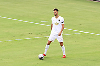 CARY, NC - AUGUST 01: Alex Crognale #21 looks for an open teammate during a game between Birmingham Legion FC and North Carolina FC at Sahlen's Stadium at WakeMed Soccer Park on August 01, 2020 in Cary, North Carolina.