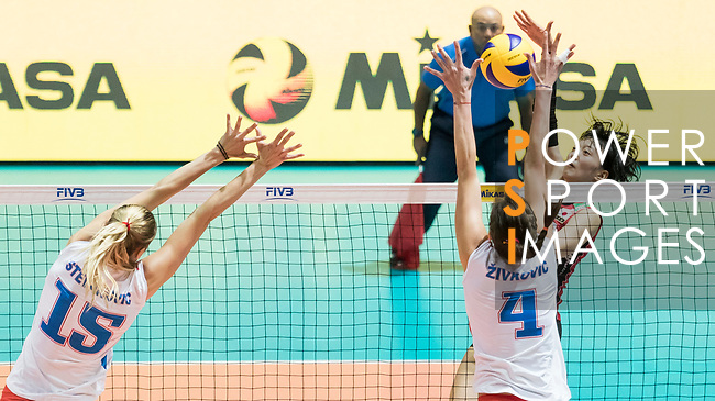 Wing spiker Yurie Nabeya of Japan spikes the ball during the FIVB Volleyball World Grand Prix - Hong Kong 2017 match between Japan and Serbia on 22 July 2017, in Hong Kong, China. Photo by Yu Chun Christopher Wong / Power Sport Images