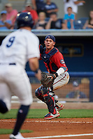 Fort Myers Miracle catcher Ben Rortvedt (15) looks to base runner Carl Chester (9) after faking a throw down to second base during a Florida State League game against the Charlotte Stone Crabs on April 6, 2019 at Charlotte Sports Park in Port Charlotte, Florida.  Fort Myers defeated Charlotte 7-4.  (Mike Janes/Four Seam Images)