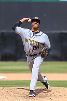 Burlington Bees pitcher Robinson Pina (28) delivers a pitch during a Midwest League game against the Wisconsin Timber Rattlers on April 28, 2019 at Fox Cities Stadium in Appleton, Wisconsin. Wisconsin defeated Burlington 5-4. (Brad Krause/Four Seam Images)