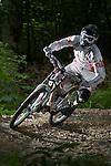 US National Downhill Champion, Ben Kubas, downhill mountain biking at Killington Resort, Killington, Vermont, 2009.  This image has a signed model release.