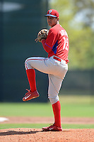 Philadelphia Phillies pitcher Alejandro Arteaga (72) during a minor league spring training game against the Pittsburgh Pirates on March 18, 2014 at the Carpenter Complex in Clearwater, Florida.  (Mike Janes/Four Seam Images)