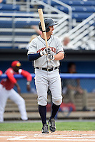 Connecticut Tigers outfielder Ross Kivett (55) at bat during the first game of a doubleheader against the Batavia Muckdogs on July 20, 2014 at Dwyer Stadium in Batavia, New York.  Connecticut defeated Batavia 5-3.  (Mike Janes/Four Seam Images)