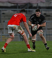 12 December 2020; Nick Timoney runs at Paddy Kelly during the A series inter-pros series 20-21 between Ulster A and Munster A at Kingspan Stadium, Ravenhill Park, Belfast, Northern Ireland. Photo by John Dickson/Dicksondigital