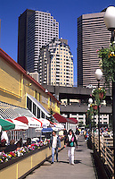 Color and architecture of the shops at the Pier, city of Seattle, Washinton, USA