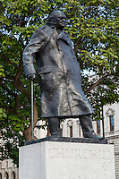 UK, England, London.  Winston Churchill Statue, Parliament Square.