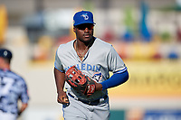 Dunedin Blue Jays right fielder Demi Orimoloye (6) jogs to the dugout during a Florida State League game against the Lakeland Flying Tigers on May 18, 2019 at Publix Field at Joker Marchant Stadium in Lakeland, Florida.  Dunedin defeated Lakeland 3-2 in eleven innings.  (Mike Janes/Four Seam Images)
