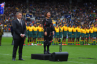 Stephanie Paris sings the Australian national anthem before the Bledisloe Cup rugby union match between the New Zealand All Blacks and Australia Wallabies at Sky Stadium in Wellington, New Zealand on Sunday, 11 October 2020. Photo: Dave Lintott / lintottphoto.co.nz