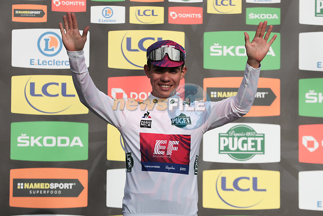 Sergio Andre Higuita (COL) EF Pro Cycling retains the young riders White Jersey on the podium at the end of Stage 5 of the 78th edition of Paris-Nice 2020, running 227km from Gannat to La Cote-Saint-Andre, France. 12th March 2020.<br /> Picture: ASO/Fabien Boukla   Cyclefile<br /> All photos usage must carry mandatory copyright credit (© Cyclefile   ASO/Fabien Boukla)