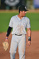 Colton Welker (12), third baseman of the Grand Junction Rockies, on defense during the game against the Ogden Raptors in Pioneer League action at Lindquist Field on August 24, 2016 in Ogden, Utah. The Raptors defeated the Rockies 11-10. (Stephen Smith/Four Seam Images)
