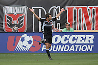 DC United midfielder Ben Olsen (14) celebrates his second goal in the 72th minute. Ben Olsen scored the first hat trick of his career against the Red Bulls. DC United defeated the New York Red Bulls 4-2, at RFK Stadium in Washington DC, Sunday June 10, 2007.