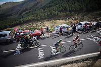 Allesandro De Marchi (ITA/BMC) & Giovanni Visconti (ITA/Movistar) up the before last climb<br /> <br /> stage 20: San Lorenzo de el Escorial - Cercedilla (176km)<br /> 2015 Vuelta à Espana