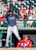 25 February 2019: Atlanta Braves outfielder Cristian Pache at bat during a pre-season Spring Training game against the Washington Nationals at Champion Stadium in the ESPN Wide World of Sports Complex in Kissimmee, Florida. The Braves defeated the Nationals 9-4 in Grapefruit League play in what will be their last season at the Disney / ESPN Wide World of Sports complex. Mandatory Credit: Ed Wolfstein Photo *** RAW (NEF) Image File Available ***