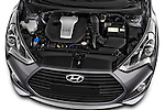 Car Stock2015 Hyundai Veloster Turbo 3 Door Hatchback Engine high angle detail view
