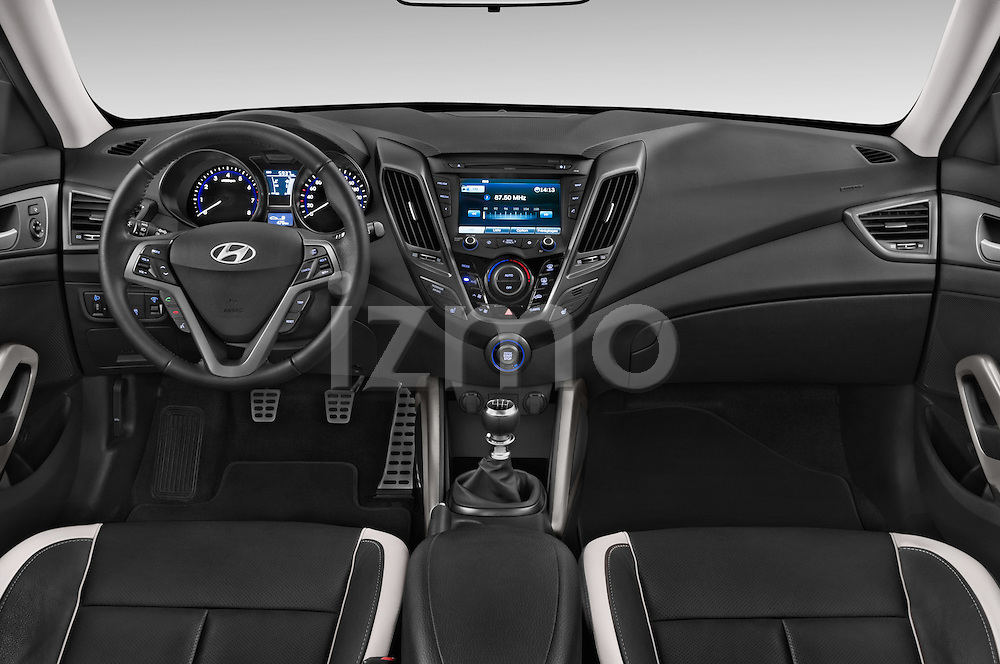 Stock photo of straight dashboard view of2015 Hyundai Veloster Turbo 3 Door Hatchback Dashboard