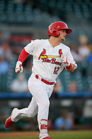 Palm Beach Cardinals second baseman Nick Dunn (12) runs to first base during a Florida State League game against the Daytona Tortugas on April 11, 2019 at Roger Dean Stadium in Jupiter, Florida.  Palm Beach defeated Daytona 6-0.  (Mike Janes/Four Seam Images)