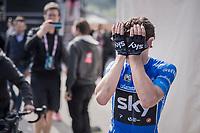 an emotional Mikel Landa (ESP/SKY) after winning stage 19: San Candido/Innichen › Piancavallo (191km)<br /> <br /> 100th Giro d'Italia 2017