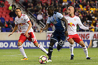 Harrison, NJ - Wednesday Feb. 22, 2017: Kekuta Manneh during a Scotiabank CONCACAF Champions League quarterfinal match between the New York Red Bulls and the Vancouver Whitecaps FC at Red Bull Arena.