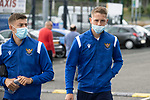 St Johnstone v Motherwell…08.08.21  McDiarmid Park<br />Reece Devine and Hayden Muller pictured arriving at McDiarmid Park ahead of today's game against Motherwell.<br />Picture by Graeme Hart.<br />Copyright Perthshire Picture Agency<br />Tel: 01738 623350  Mobile: 07990 594431