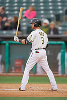 Taylor Ward (3) of the Salt Lake Bees bats against the Albuquerque Isotopes at Smith's Ballpark on April 24, 2019 in Salt Lake City, Utah. The Isotopes defeated the Bees 5-4. (Stephen Smith/Four Seam Images)