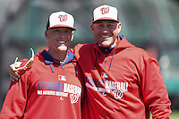 Washington Nationals Tripp Keister and Patrick Anderson during practice before a minor league spring training game against the Atlanta Braves on March 26, 2014 at Wide World of Sports in Orlando, Florida.  (Mike Janes/Four Seam Images)